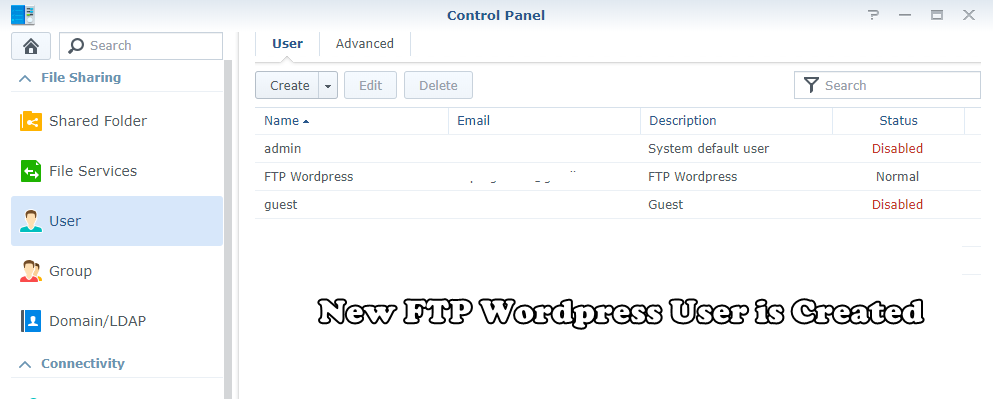 user ftp creation
