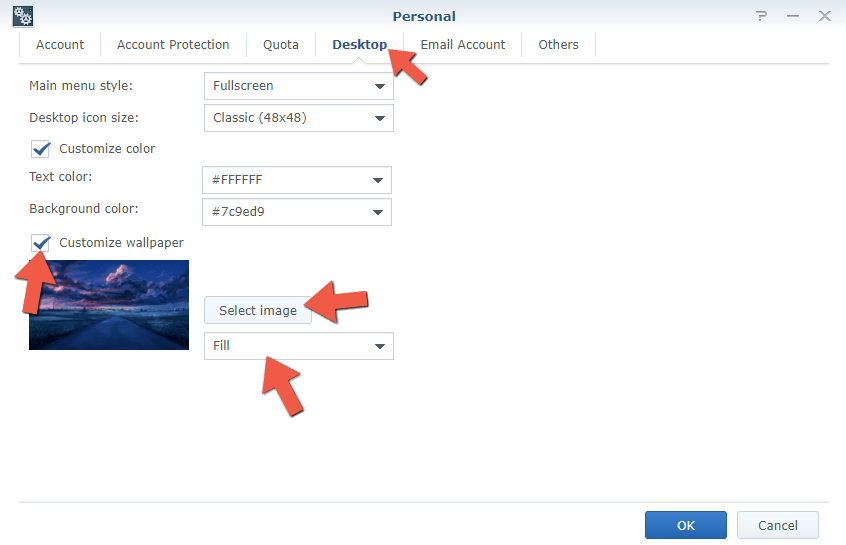 step 2 change Synology NAS background image