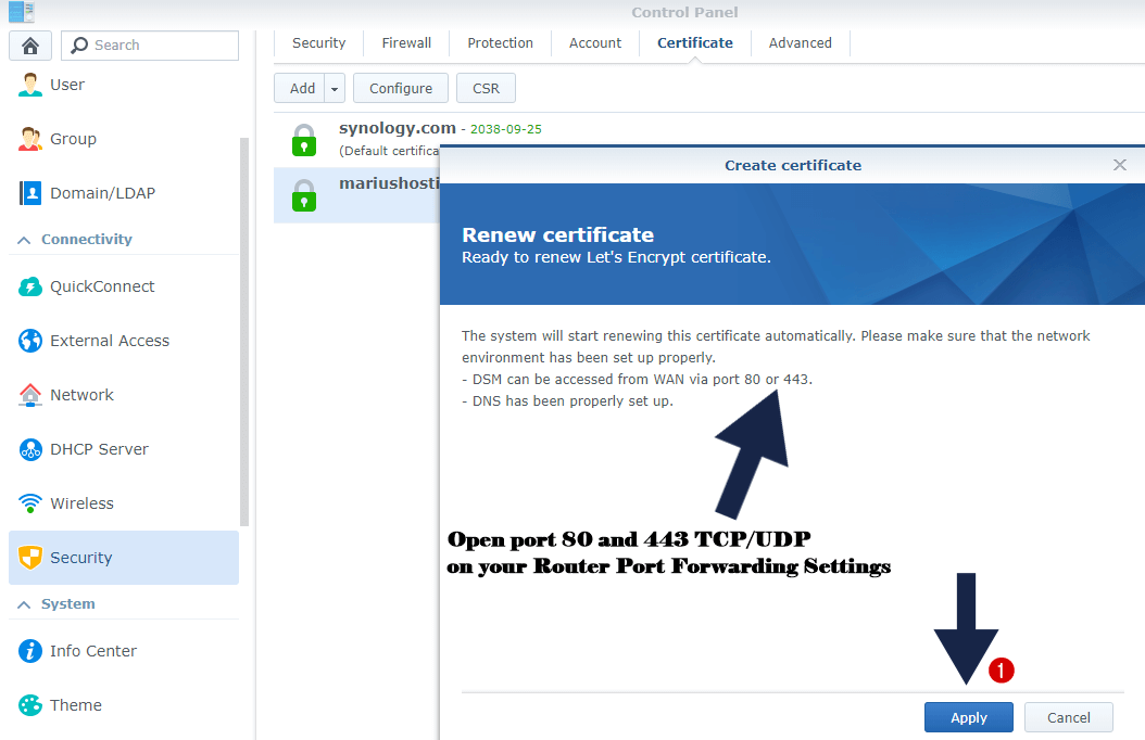 Apply for ssl certificate synology