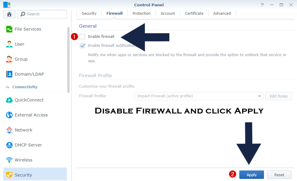 Synology disable firewall quickconnect