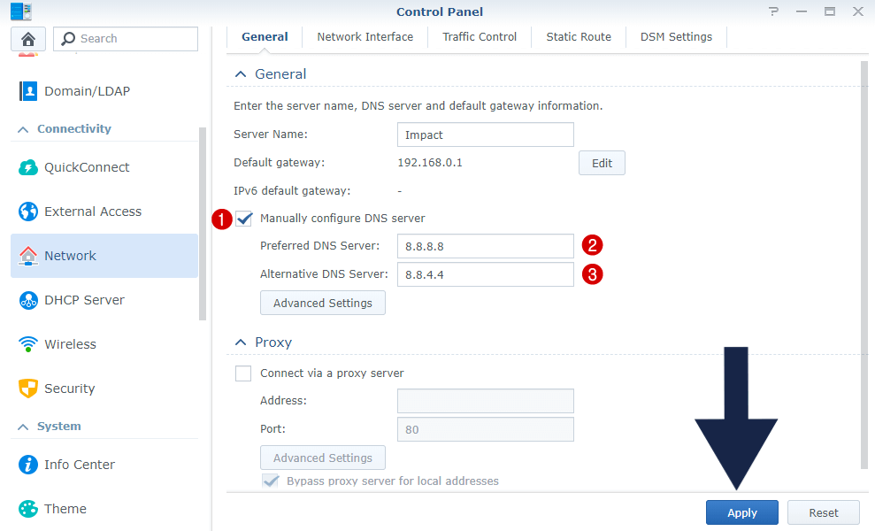 Synology set manually dns