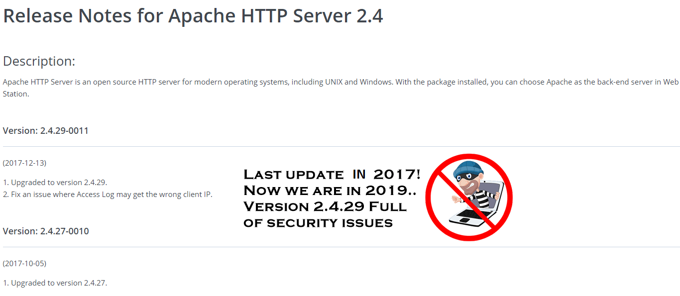 apache http server 2.4 is out of date and full of problem