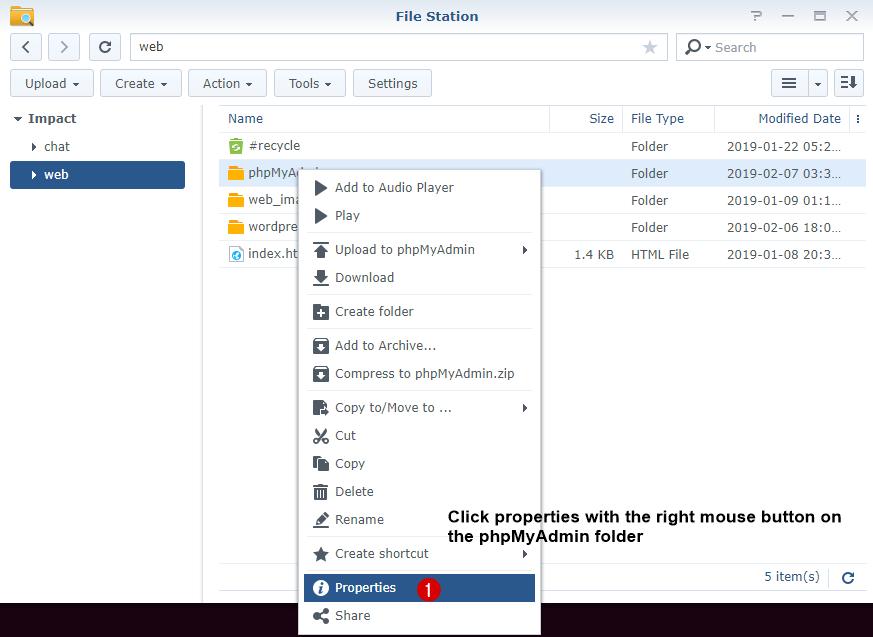click Properties on phpmyadmin folder