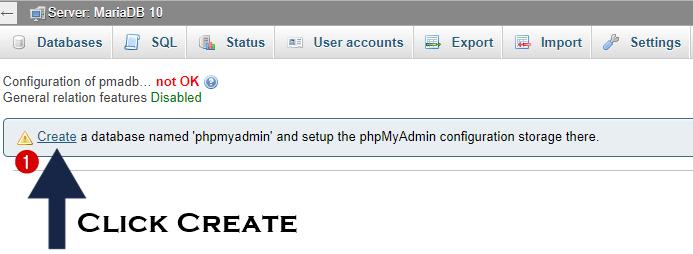 create storage configuration phpmyadmin