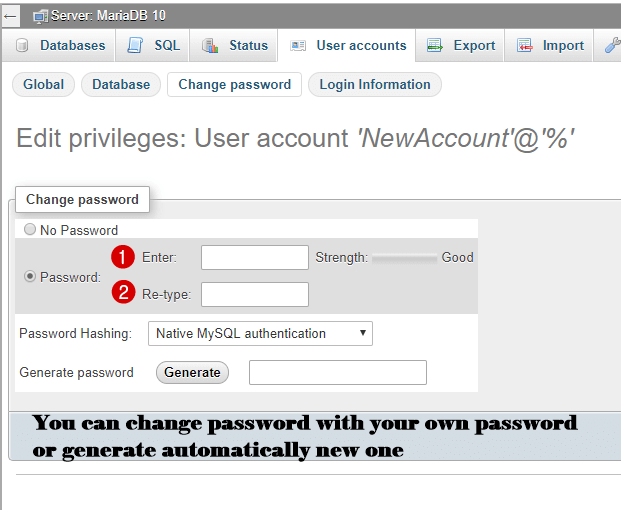 final step change password on phpmyadmin