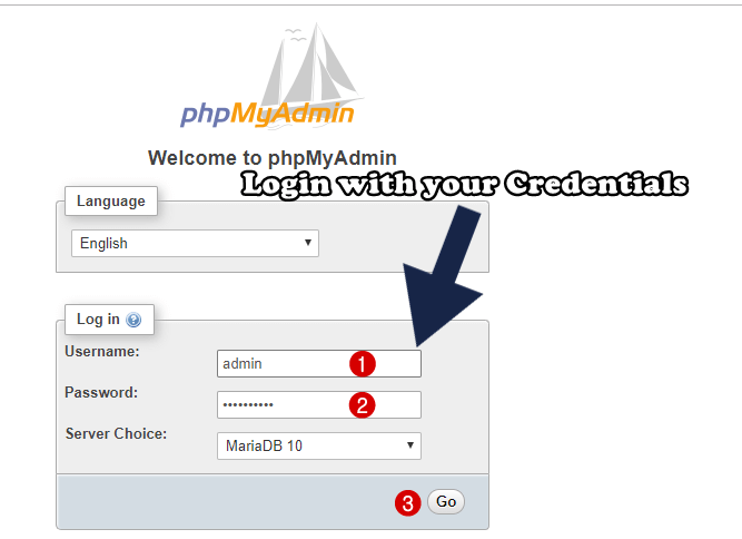 login with your credentials in phpmyadmin