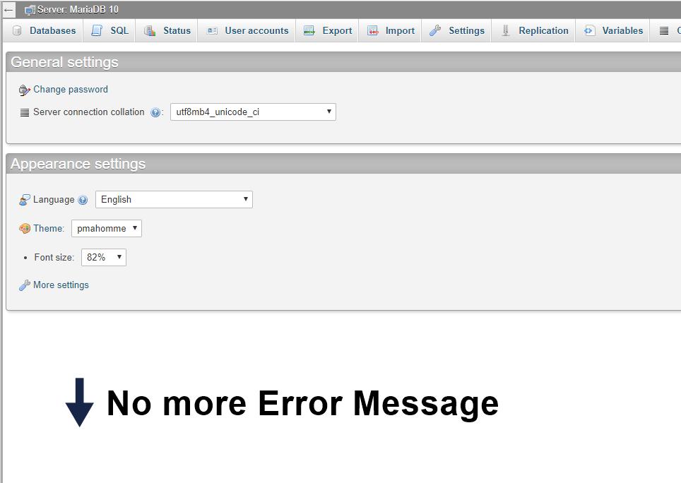 no more error message