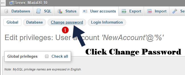 now change password in phpmyadmin