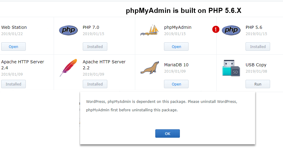 phpMyAdmin dependent on PHP 5.6