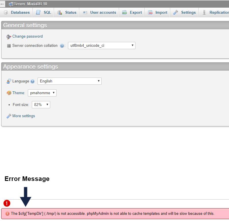 phpmyadmin error message