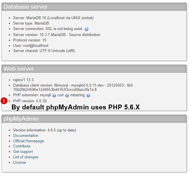 phpmyadmin uses php 5.6