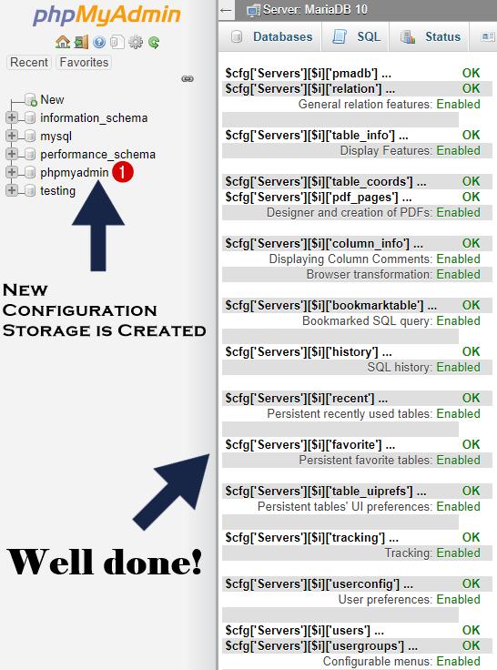 problem solved phpmyadmin storage configuration