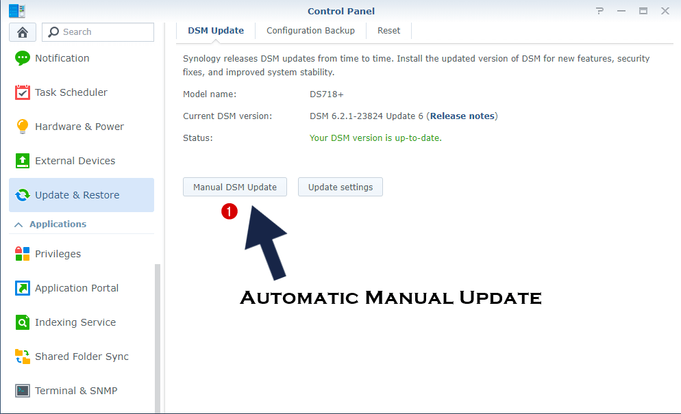 manual DSM update synology