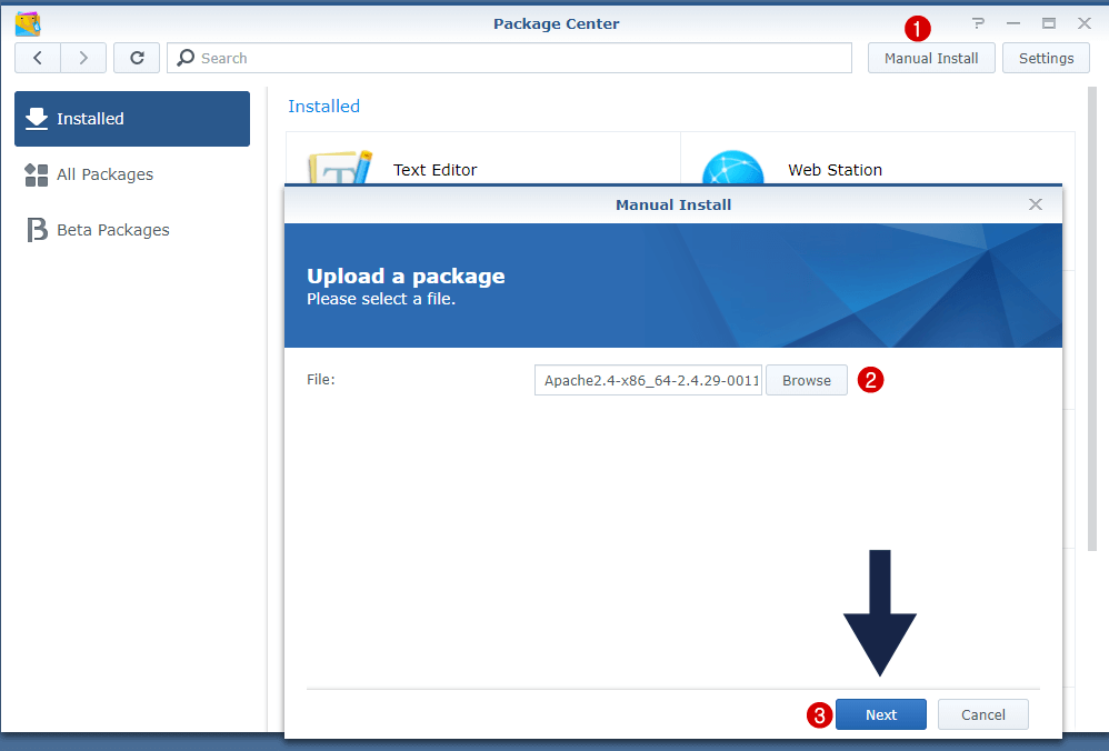 manual package update synology