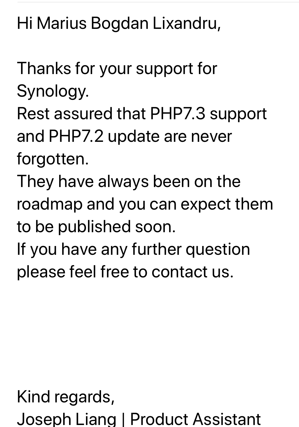 synology php 7.3 reply