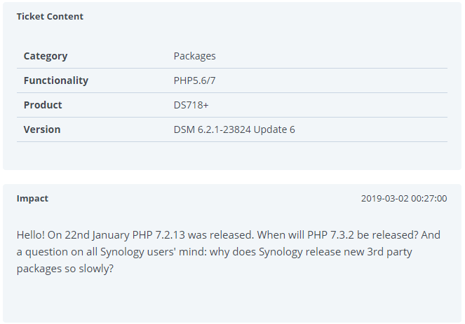 synology support ticket