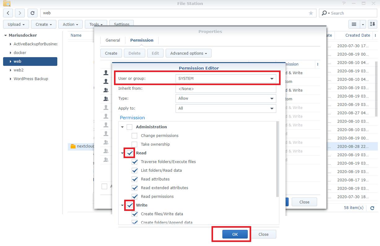 2 Synology NAS adjust Nextcloud permissions