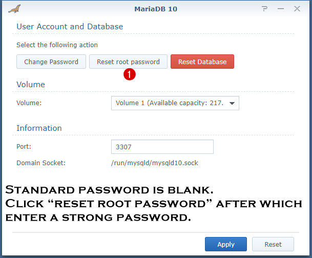change mariadb 10 password