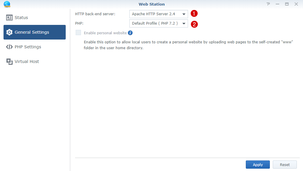 general settings webstation synology