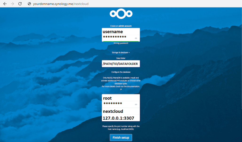 nextcloud synology installation page