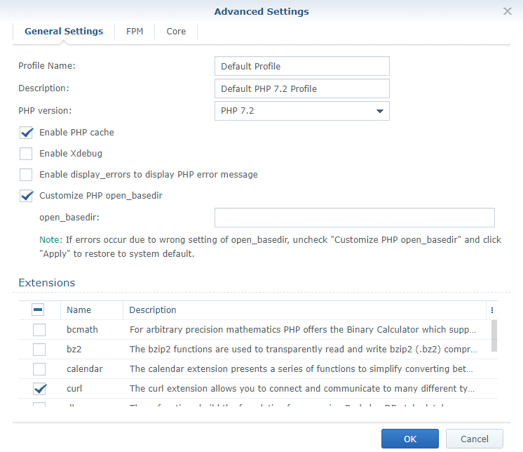 php 7.2 profile synology nextcloud