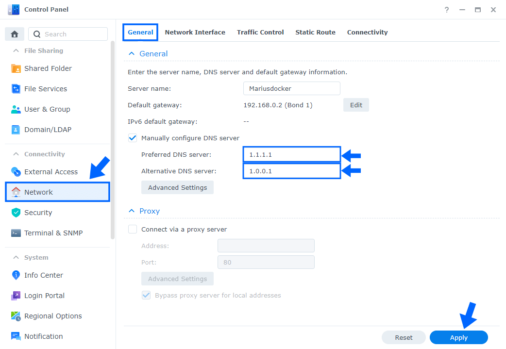 CloudFlare Synology NAS DNS Network