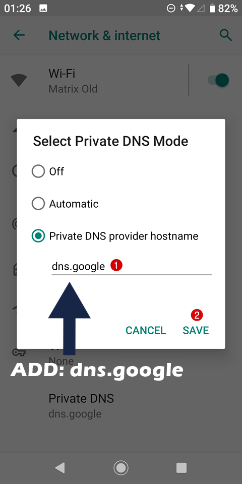 step 3 android set google dns