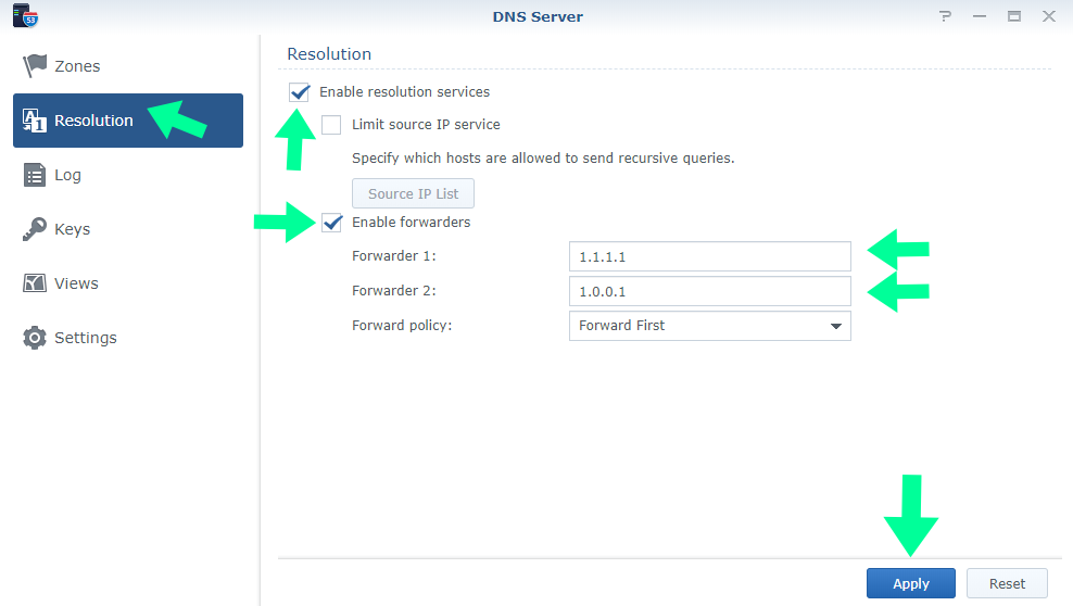 Cloudflare Dns synology server