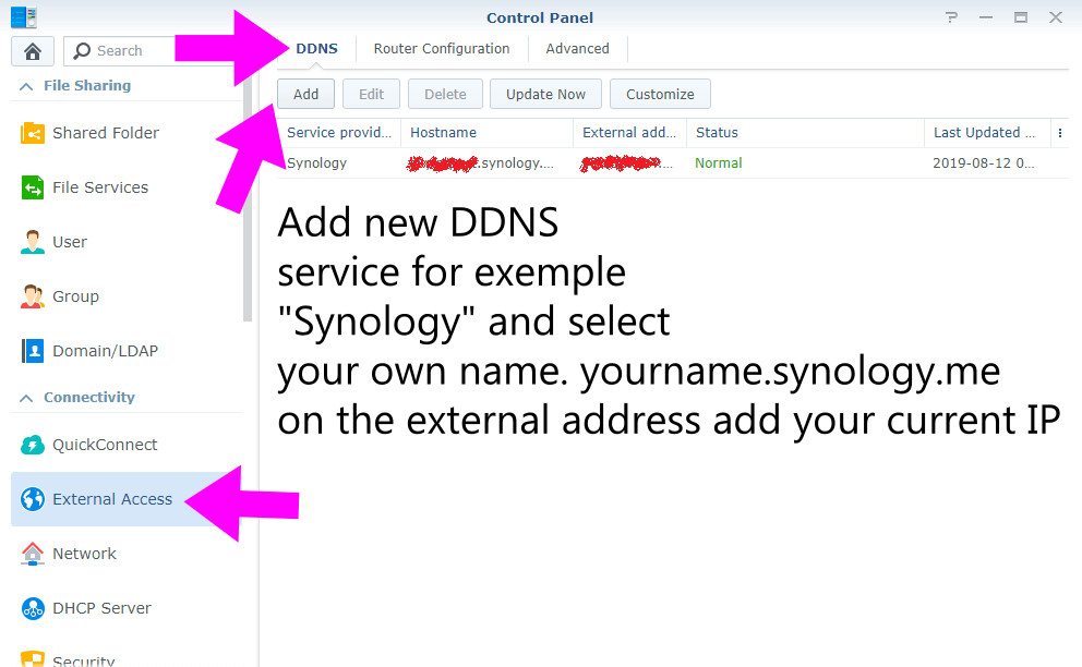 DDNS synology.me