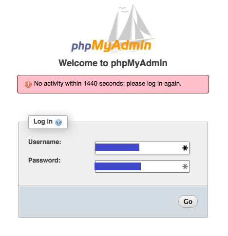 No activity within 1440 seconds; please log in again.