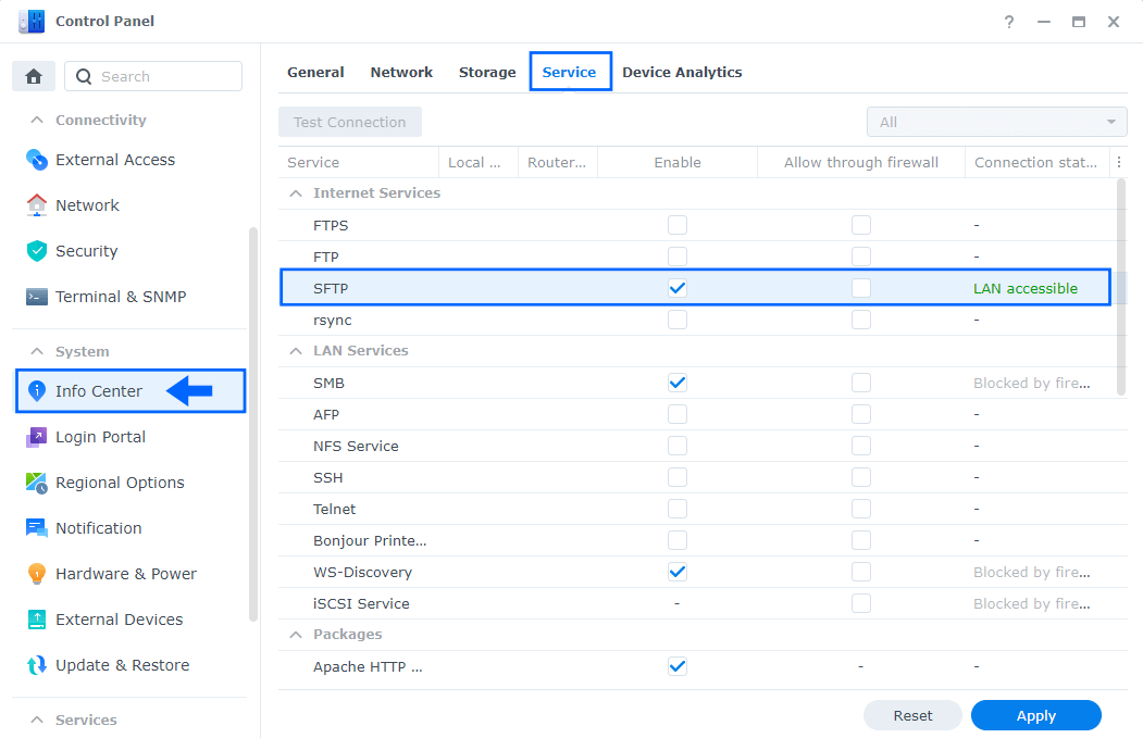 SFTP Synology NAS different ports