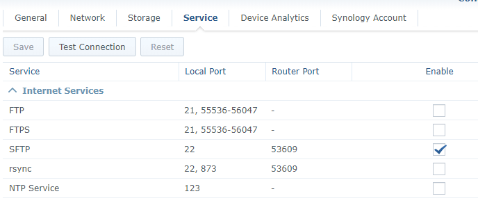 SFTP synology different ports