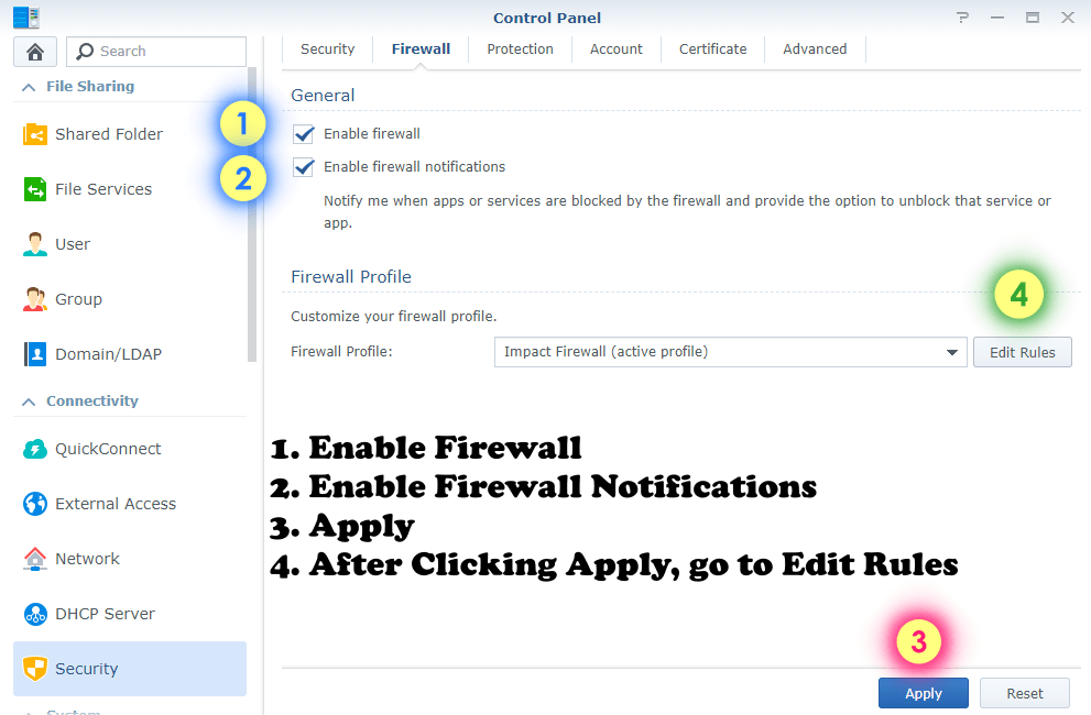 Synology Firewall settings 1