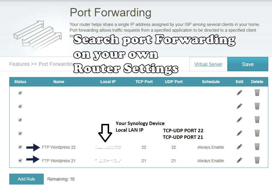 Synology Ftp rounter configuration