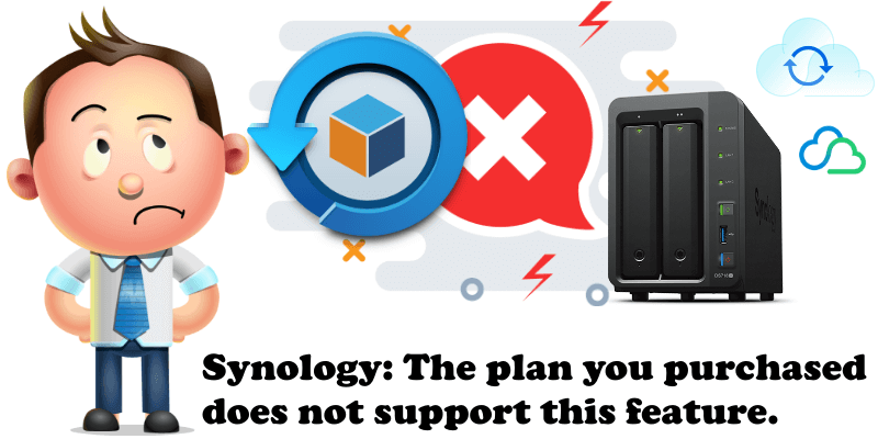 Synology The plan you purchased does not support this feature.