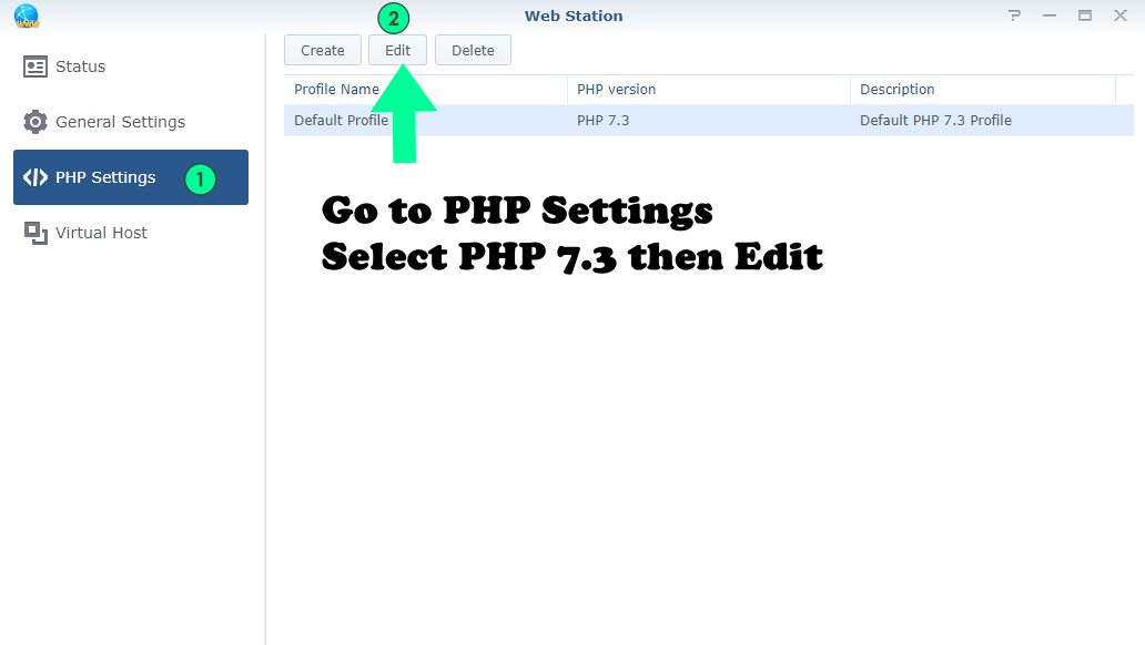 php 7.3 settings synology