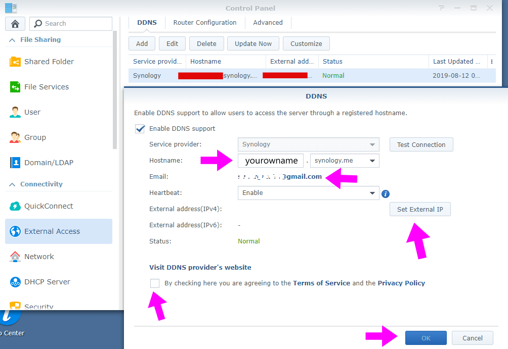 setting DDNS service synology