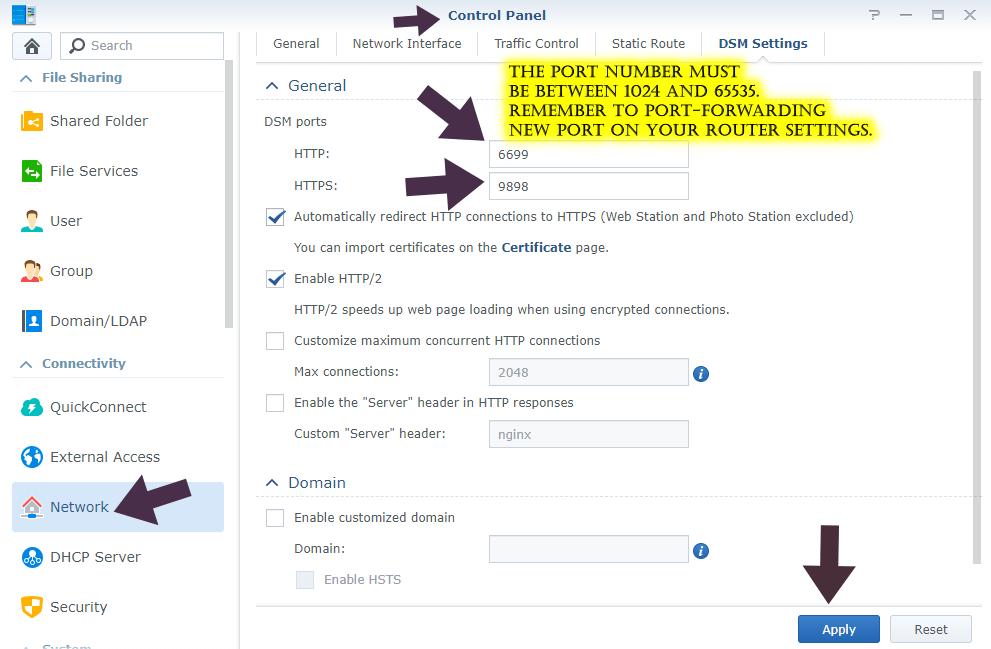 synology change dsm standard port number