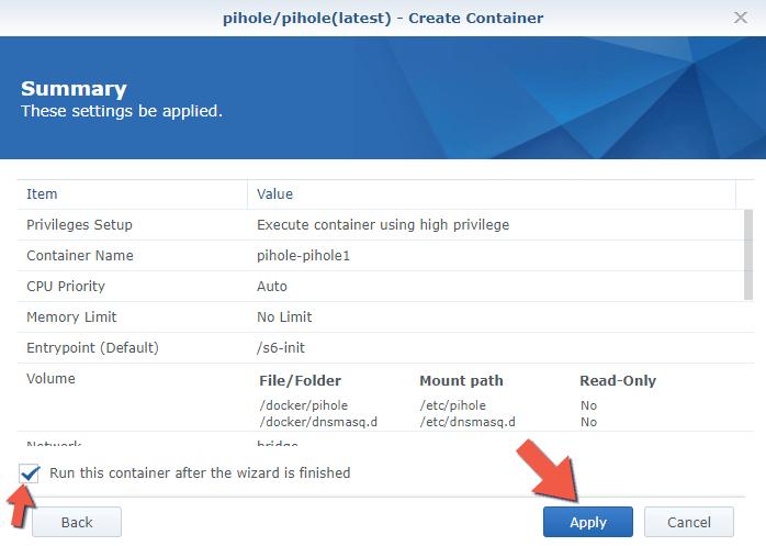 11 Synology NAS Docker pihole advanced settings setup configuration