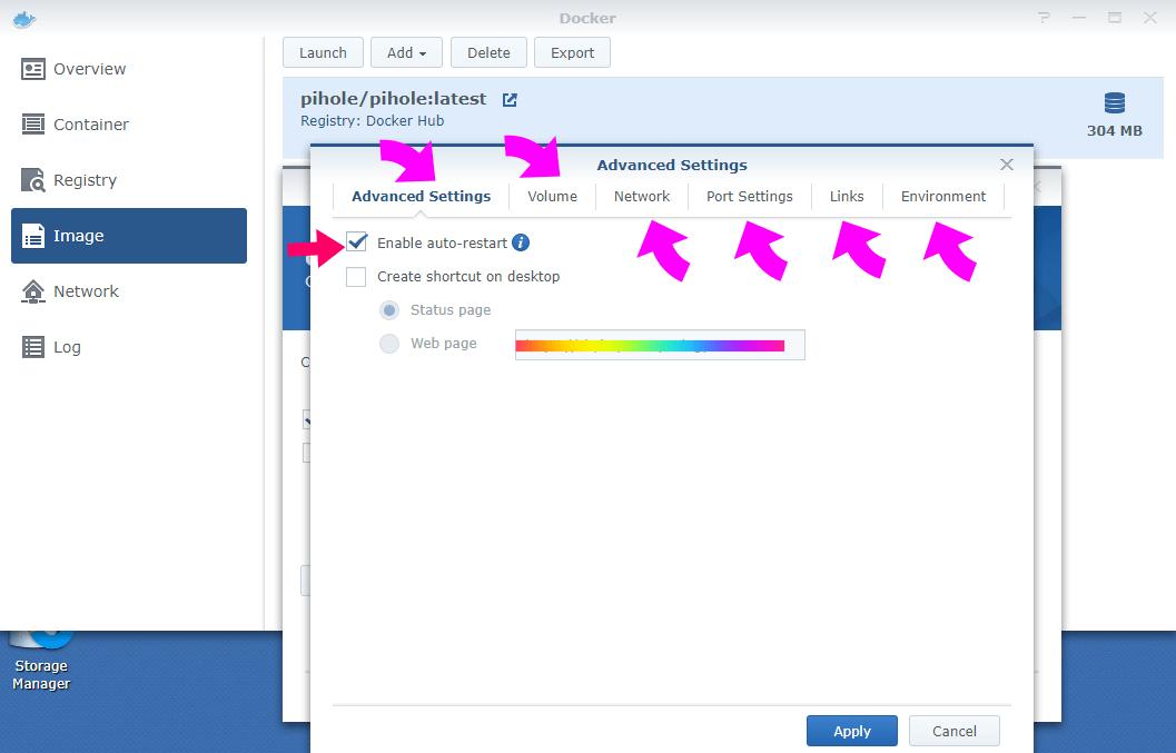 6 Synology Docker pihole advanced settings