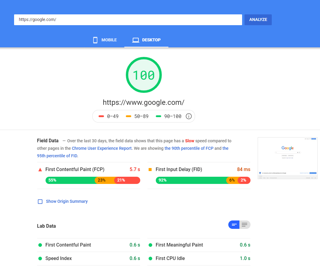 Google pagespeed insights desktop