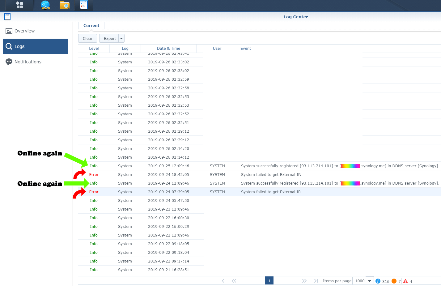 Log Center Synology System failed to get External IP