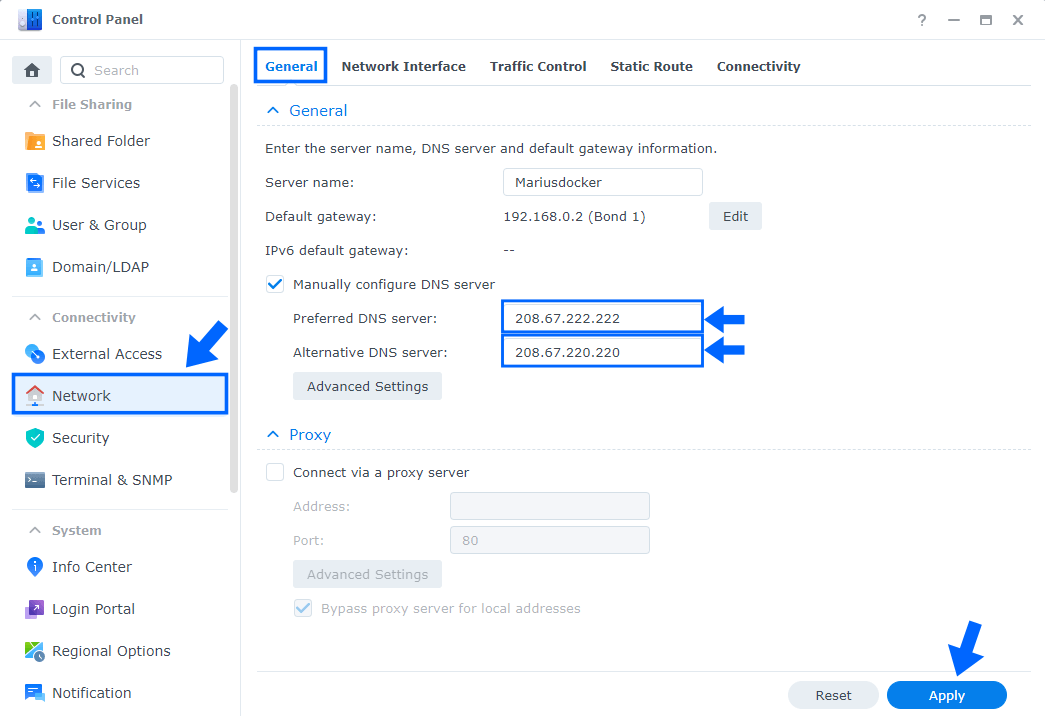 OpenDNS Synology NAS DNS Network