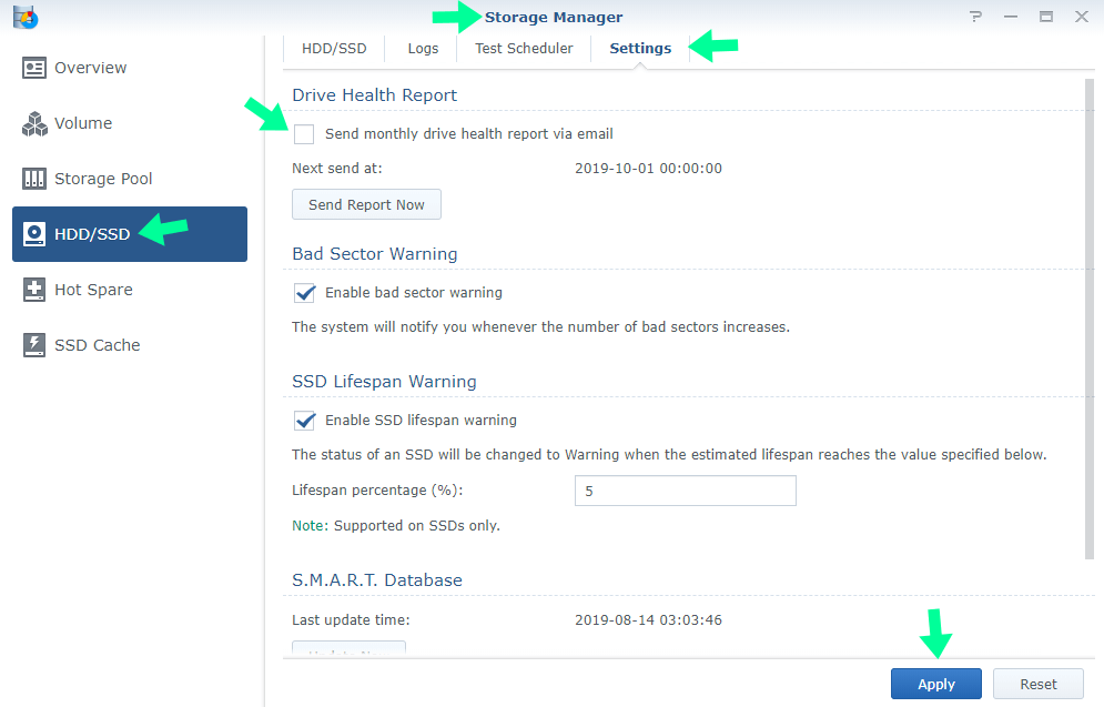 deactivate synology disk health monthly report