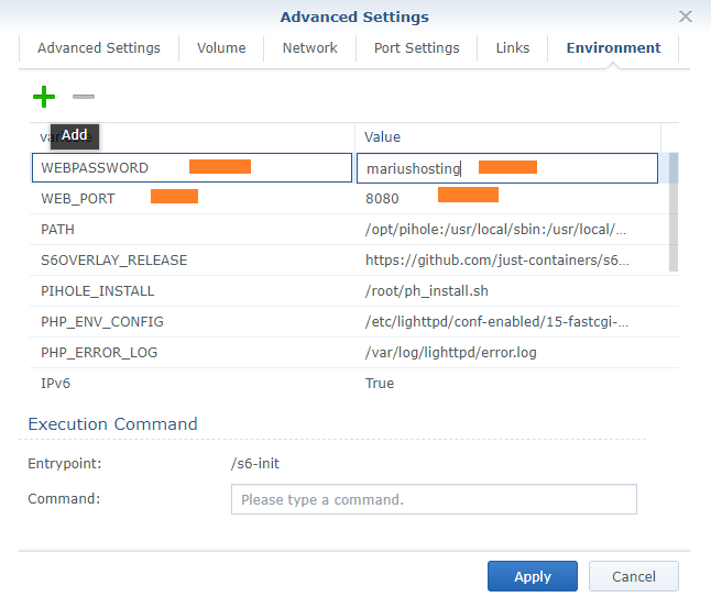 web password and web port pihole synology