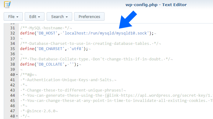wp config synology wordpress database