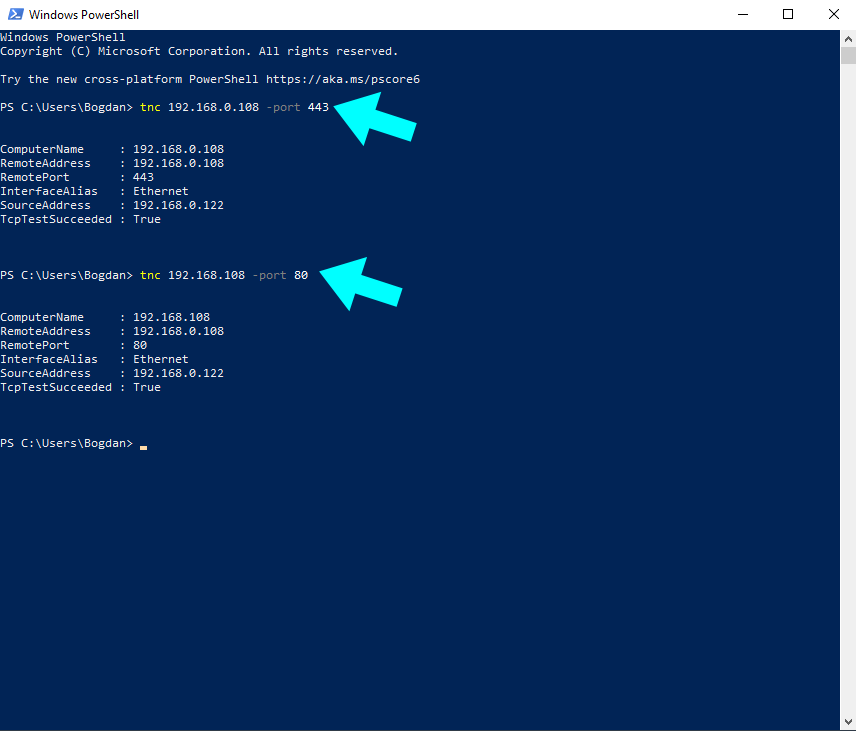 Windows powershell Synology NAS port test