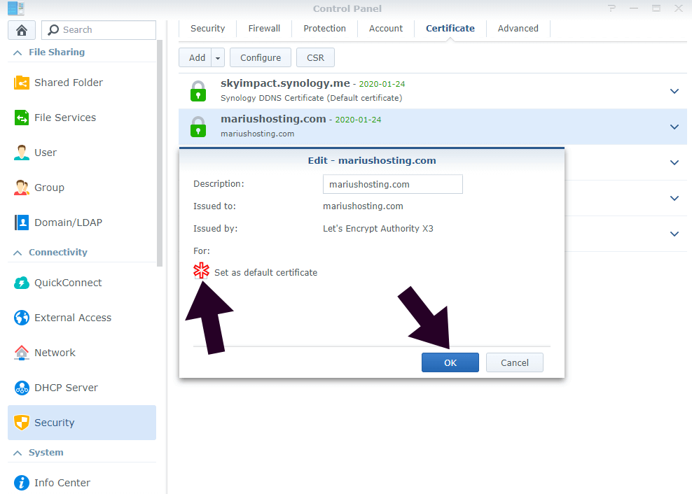 Set as default certificate synology