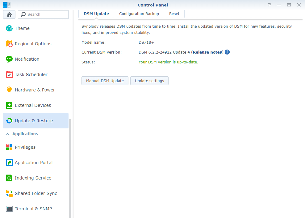 synology DSM Version 6.2.2-24922-4 correctly installed