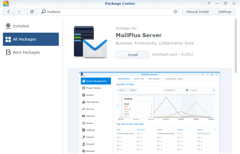 synology mail plus server